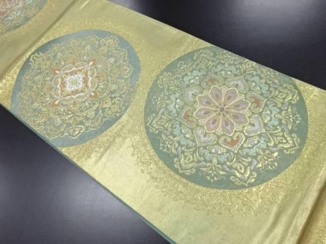 漆金箔華紋模様織り出し袋帯【リサイクル】【中古】