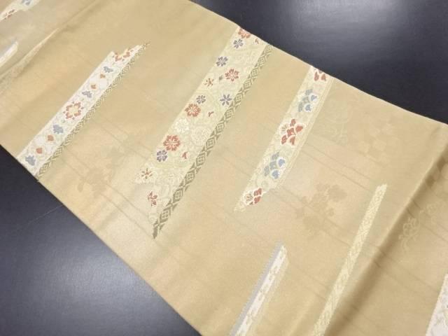 引箔横段に華紋更紗模様織り出し名古屋帯【リサイクル】【中古】