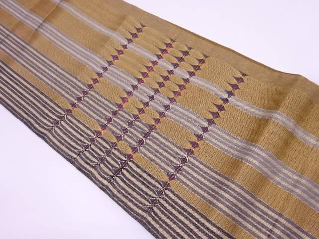 すかし織縞に抽象模様織出し袋帯【リサイクル】【中古】