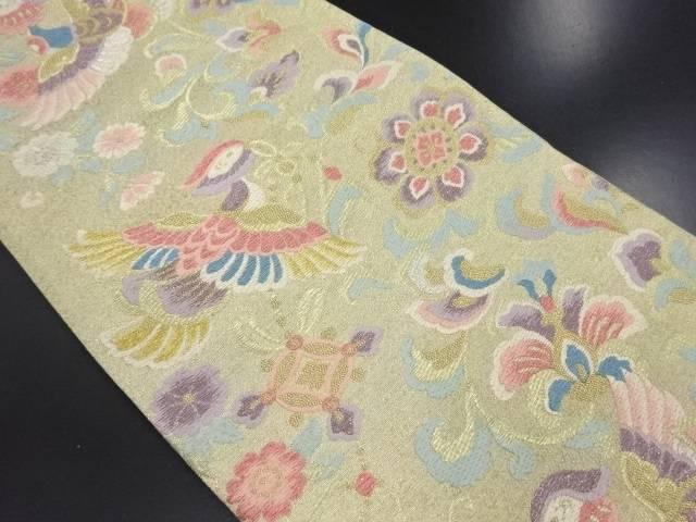 本金花喰い鳥模様織り出し袋帯【リサイクル】【中古】