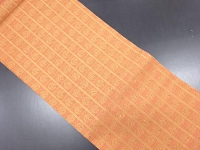 格子に丸紋様織り出し名古屋帯【リサイクル】【中古】