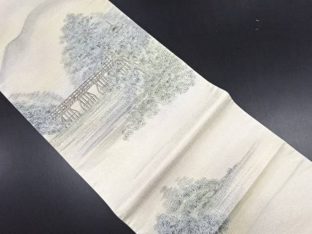 作家物 手描き嵐山風景模様袋帯【リサイクル】【中古】