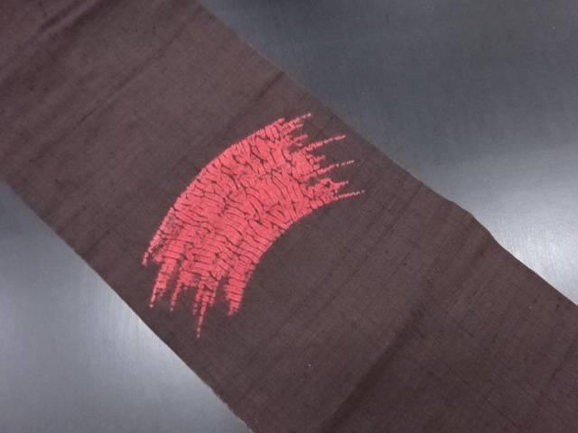 手織り真綿紬絞り刷毛目模様名古屋帯【リサイクル】【中古】
