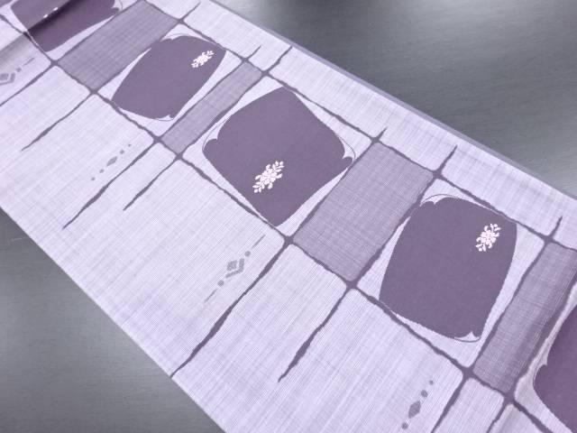 未使用品 色紙に花模様織り出し洒落袋帯(未仕立て)【リサイクル】【中古】