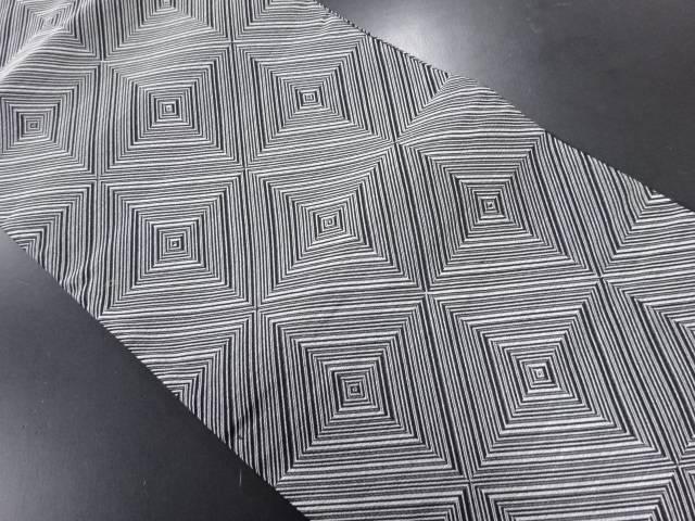 格子に幾何学模様織り出し全通袋帯【リサイクル】【中古】