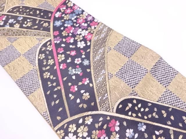 市松に波・桜模様織出し袋帯【リサイクル】【中古】