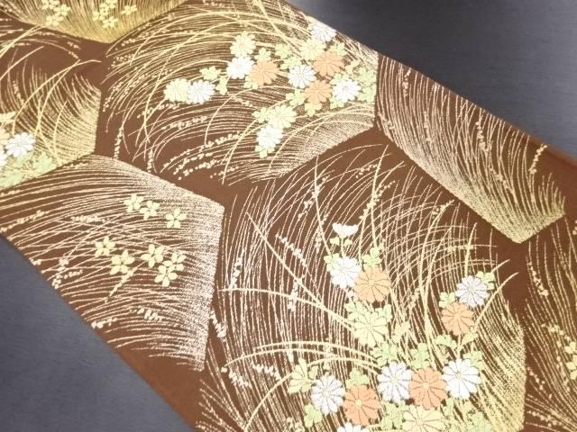 亀甲に草花模様織り出し袋帯【リサイクル】【中古】