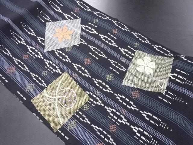 縞に花菱・瓢箪模様織り出し名古屋帯【リサイクル】【中古】