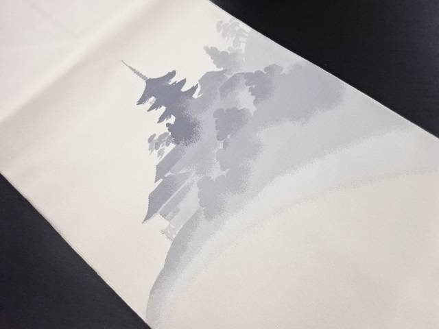 未使用品 綴れ寺院風景模様織り出し名古屋帯【リサイクル】【中古】