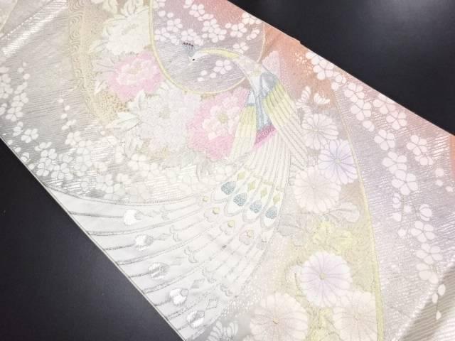 孔雀に牡丹・菊・枝梅模様織り出し袋帯【リサイクル】【中古】