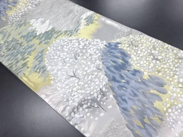 引き箔波に遠山模様織り出し袋帯【リサイクル】【中古】