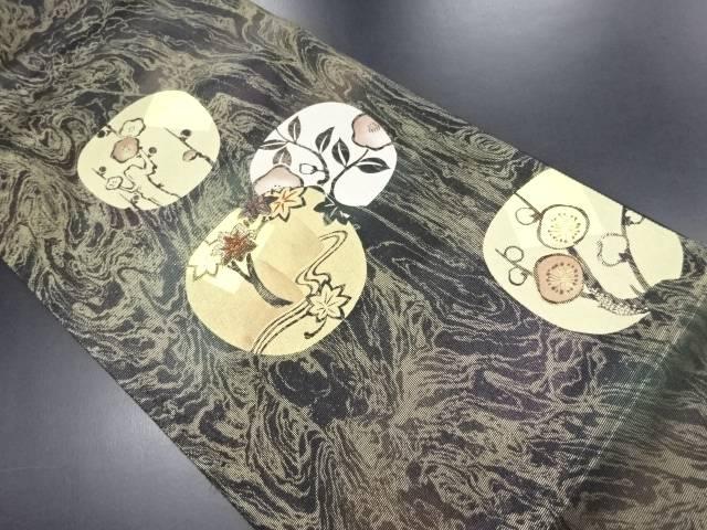 金彩丸紋に竜田川・梅・椿模様刺繍袋帯【リサイクル】【中古】