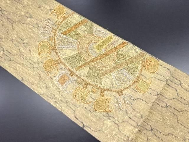 金糸組織槌車模様刺繍袋帯【リサイクル】【中古】