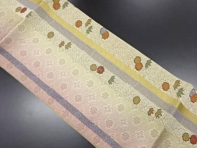 こうけち竹縞に菊・笹模様織り出し袋帯【リサイクル】【中古】