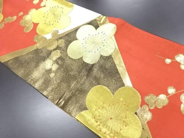 本金梅模様織り出し袋帯【リサイクル】【中古】
