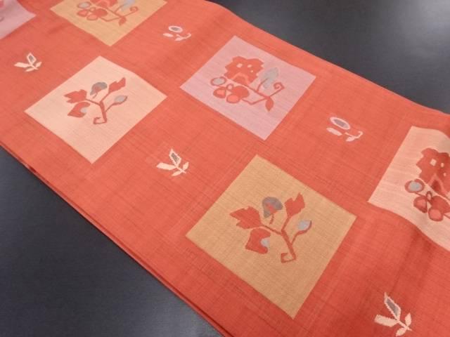 色紙に花模様織り出し袋帯【リサイクル】【中古】
