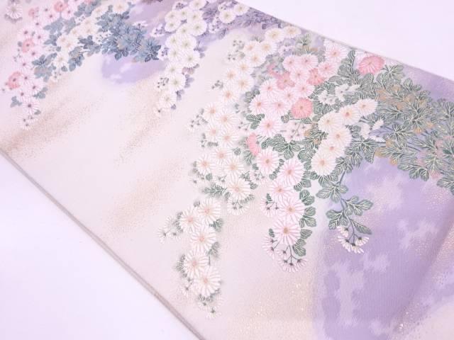 霞に草花模様織出し袋帯【リサイクル】【中古】