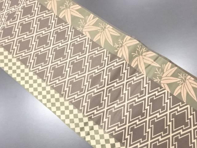 未使用品 松皮菱に笹模様織り出し袋帯【リサイクル】【中古】