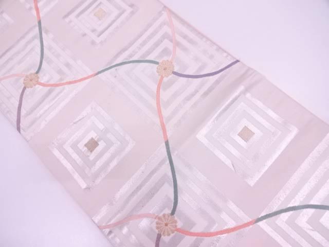 変わり格子に花・抽象模様織出し袋帯【リサイクル】【中古】