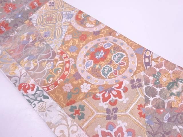 唐織引箔切嵌風花唐草に古典柄模様織出し袋帯【リサイクル】【中古】