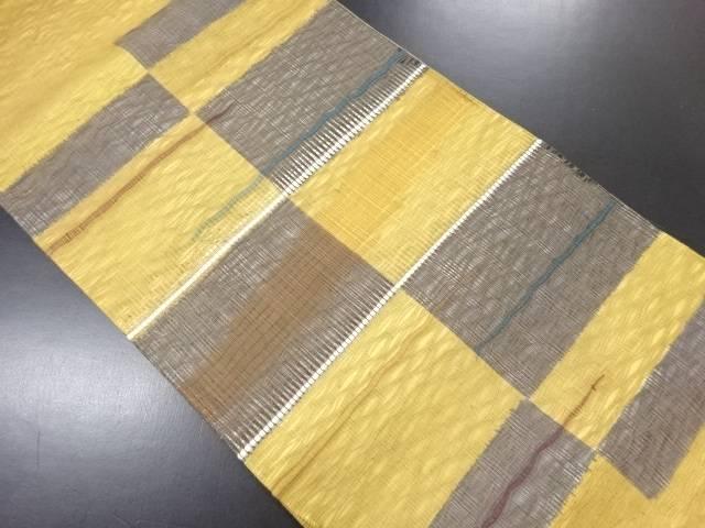 すくい織変わり市松模様織り出し袋帯【リサイクル】【中古】
