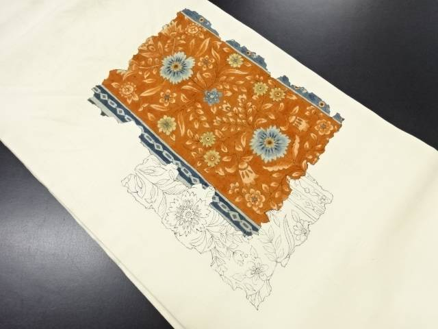 作家物 手織り紬花唐草模様名古屋帯【リサイクル】【中古】