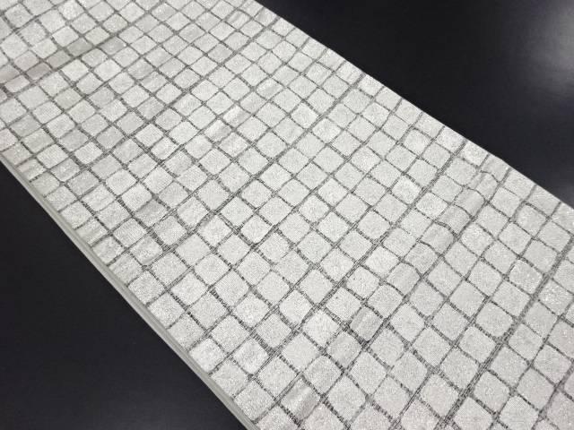 銀糸格子模様織り出し袋帯【リサイクル】【中古】