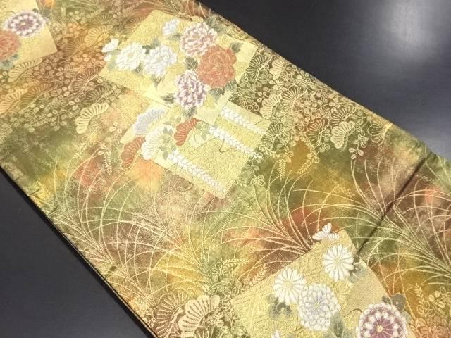 未使用品 金箔色紙に菊・牡丹・藤模様織り出し袋帯【リサイクル】【中古】