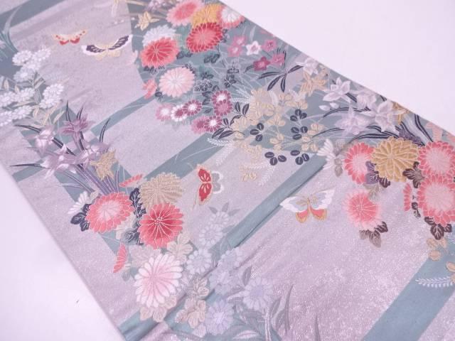 蝶に草花模様織出し袋帯【リサイクル】【中古】