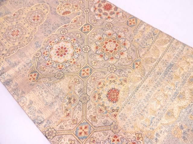雲取に華紋・花鳥模様織出し袋帯【リサイクル】【中古】