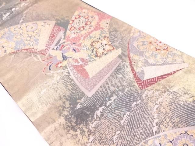 地紙瑞鳳文織出し袋帯【リサイクル】【中古】