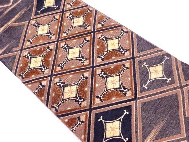 切りビロード襷に花模様刺繍袋帯【リサイクル】【中古】