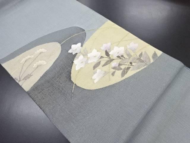 金通しすくい織桔梗に女郎花模様織り出し袋帯【リサイクル】【中古】