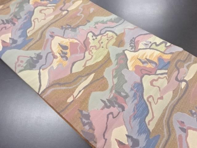 つづれ錦遠山風景模様織り出し袋帯【リサイクル】【中古】