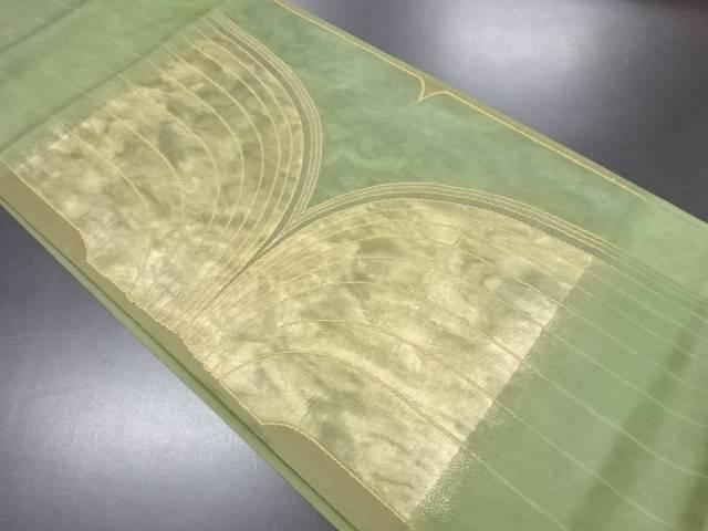 引箔抽象模様織り出し袋帯【リサイクル】【中古】