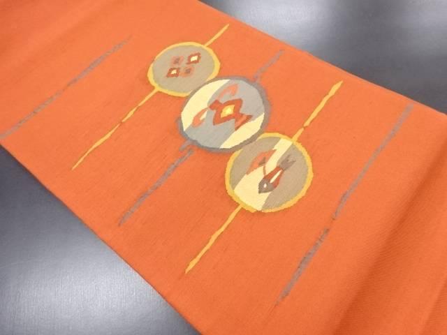 手織り紬抽象簪に壷・魚模様織り出し袋帯【リサイクル】【中古】
