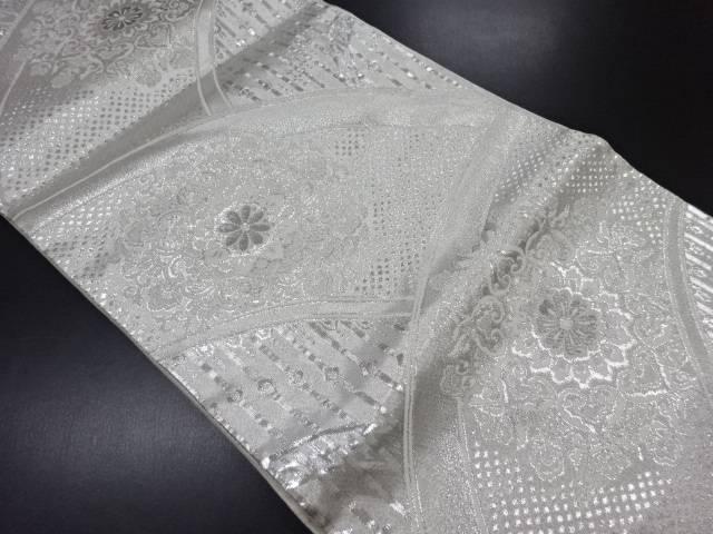 プラチナ銀箔二重織地紙に華紋更紗織り出し袋帯【リサイクル】【中古】