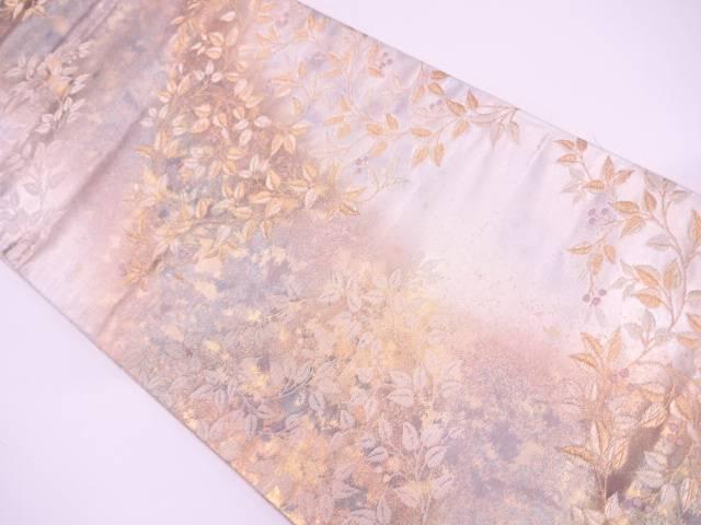 引箔草葉に木の実模様織出し袋帯【リサイクル】【中古】