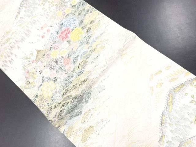 織華佐竹製 金銀糸古都乃四季模様織り出し袋帯【リサイクル】【中古】