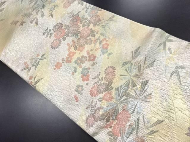 変わり織松竹梅・菊・楓模様織り出し袋帯【リサイクル】【中古】