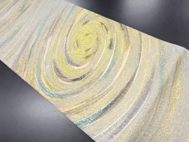 金糸渦巻き模様織り出し全通袋帯【リサイクル】【中古】
