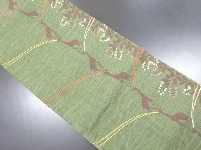 鹿に枝花模様織り出し袋帯【リサイクル】【中古】