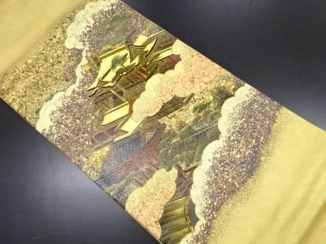 本金箔寺院風景模様袋帯【リサイクル】【中古】