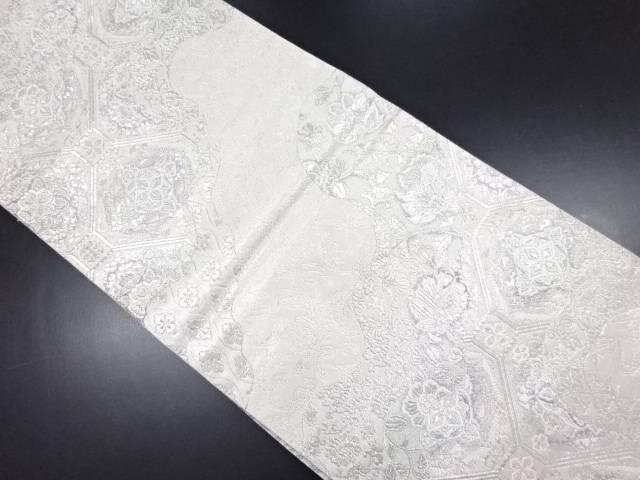 銀糸道長取に華紋・唐花模様織り出し袋帯【リサイクル】【中古】