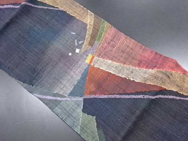 手織り真綿紬抽象模様織り出し名古屋帯【リサイクル】【中古】