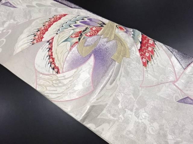 変わり束ね熨斗に羽根・草花模様織り出し袋帯【リサイクル】【中古】