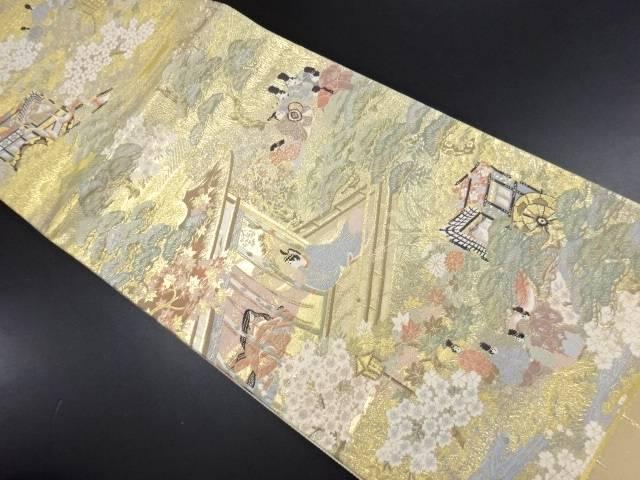 本金平安人物・時代風景模様織り出し全通袋帯【リサイクル】【中古】