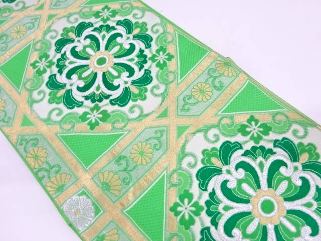 川島織物製 菱に花唐草模様織出し袋帯【リサイクル】【中古】