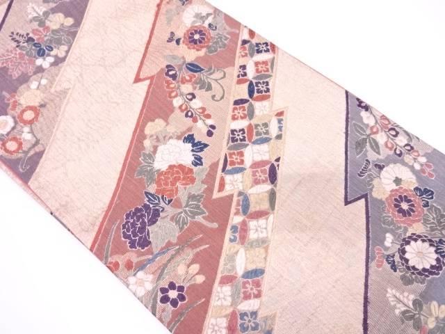 七宝に草花模様織出し袋帯【リサイクル】【中古】