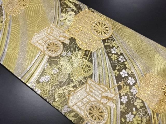 金銀糸御所車模様織り出し袋帯【リサイクル】【中古】